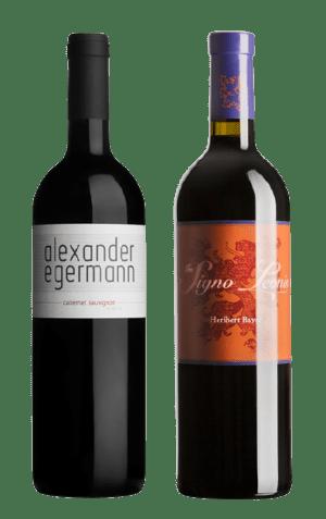 Zwei Rotweinflaschen, Cabernet Sauvignon 2015, Alexander Egermann, Cuvée In Signo Leonis, Heribert Bayer