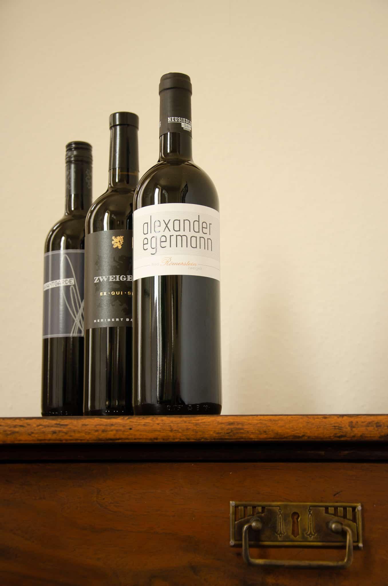 Drei Flaschen Zweigelt Burgenland